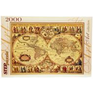 упаковка игры Пазл Историческая карта мира 2000 элементов Step Puzzle