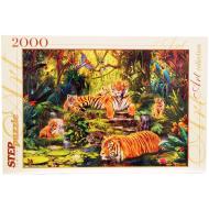 упаковка игры Пазл В джунглях Тигры 2000 элементов Step Puzzle