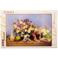 упаковка игры Пазл Цветы 3000 элементов Step Puzzle