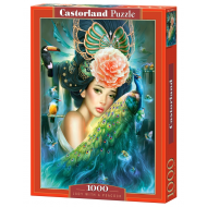упаковка игры Пазл Дама с павлином 1000 элементов Castorland