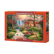 упаковка игры Пазл Дом у водопада 500 элементов Castorland