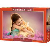 упаковка игры Пазл «Девочка с рыжим котом» 500 элементов