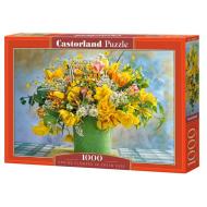 упаковка игры Пазл Весенние цветы в зеленой вазе 1000 элементов Castorland