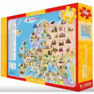 упаковка игры Карта-пазл «Европа. Достопримечательности» 260 деталей 33х47 см