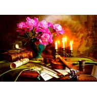 упаковка игры Пазл Натюрморт - скрипка и цветы 1500 элементов Castorland
