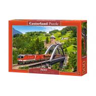 упаковка игры Пазл Поезд на мосту 500 элементов Castorland