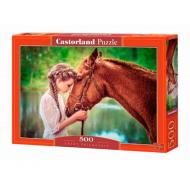 упаковка игры Пазл Девушка и лошадь 500 элементов Castorland