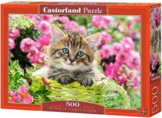 Пазл «Котёнок в цветочном саду» 500 элементов