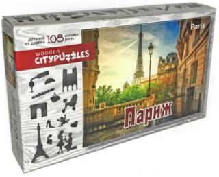 Деревянный фигурный пазл Париж Citypuzzles