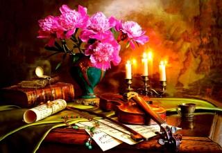 Пазл Натюрморт - скрипка и цветы 1500 элементов Castorland
