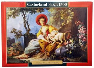 Пазл Девушка с собакой 1500 элементов Castorland